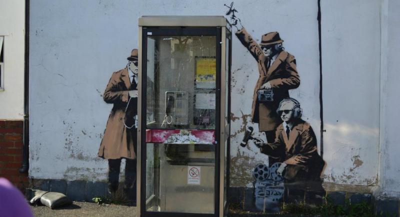 Banksy street art near GCHQ in Cheltenham